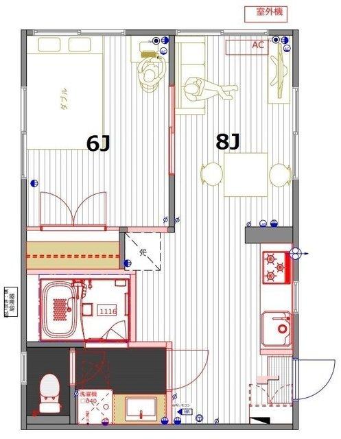 寝室がひとつ、ダイニングとソファが置けて、8畳以上なので、こちらは「1LDK」の間取りです