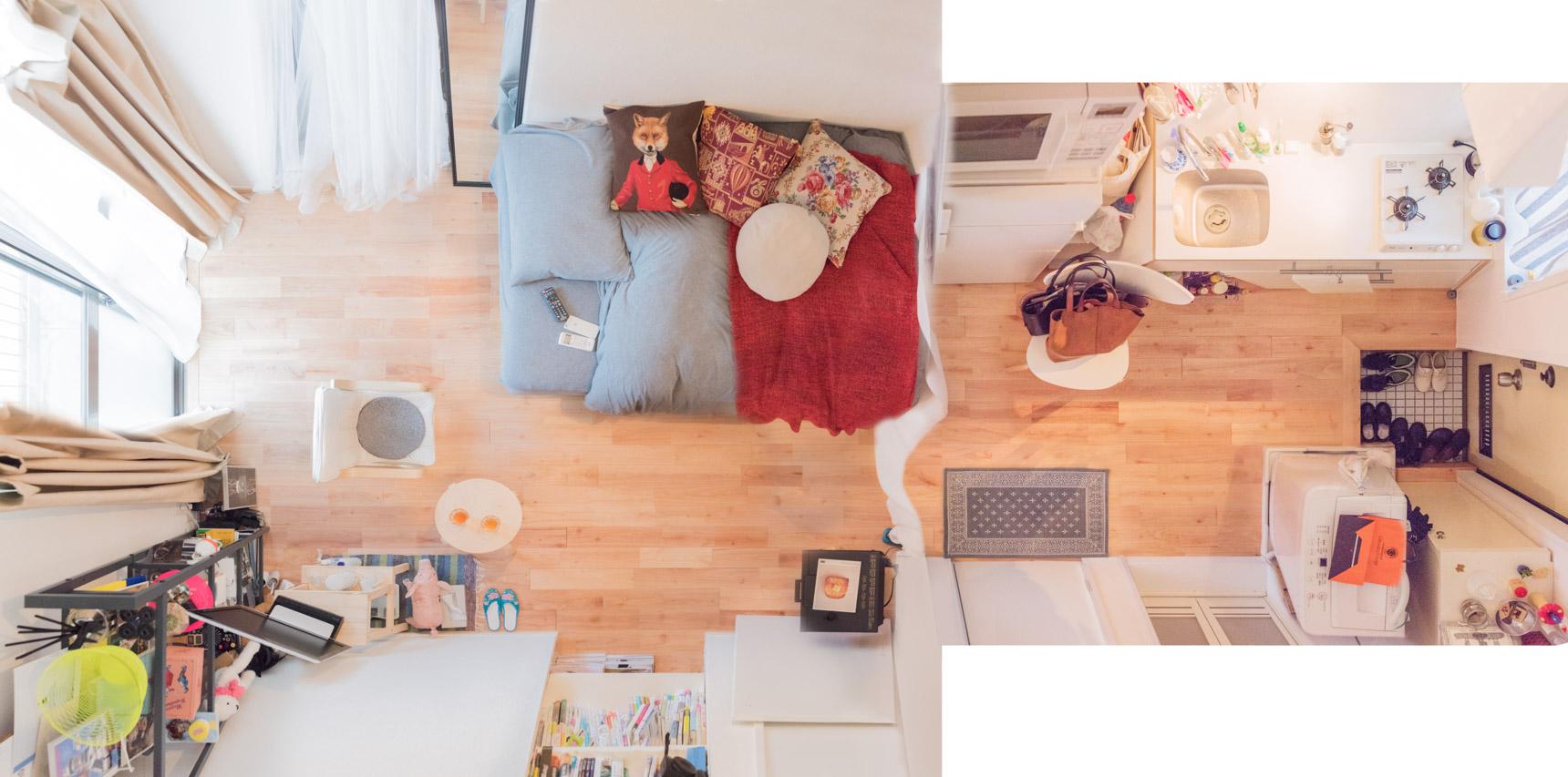 「ちゃんと作ろう」と思える広めのキッチンがポイントだったという楠田さんのお部屋。ベッドはキッチン側に寄せて、窓辺はくつろぎスペースに。