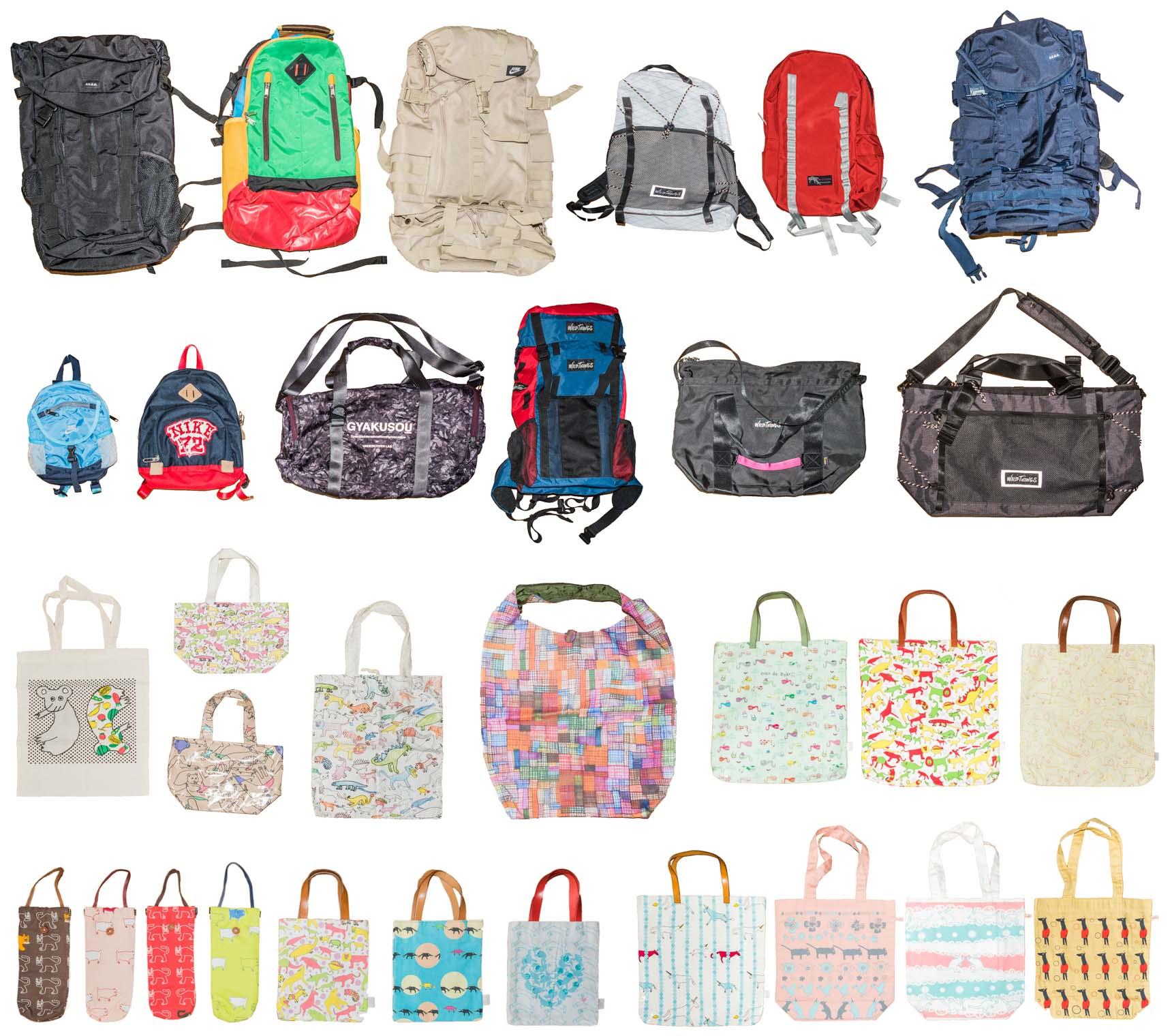 お二人がデザインしたバッグたち。