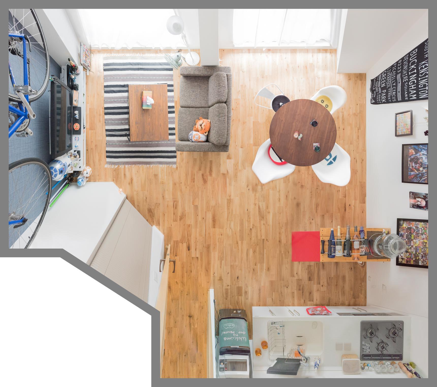 窓に対して「横長」リビングの家具配置例