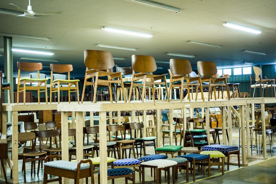 1940〜70年代を中心とした北欧ヴィンテージ家具がストックされている。