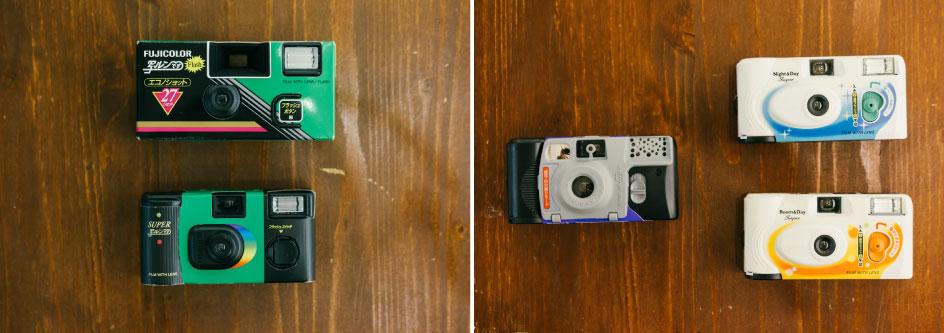 (左)フラッシュのデザインも日々進化。フラッシュのボタンを引き起こしながら撮影するものに、たしかに見覚えがある! (右)90年代後半の女子高生ブームのときには、自撮りと接写ができる3WAYタイプ、ホワイトのデザインのものが登場した。