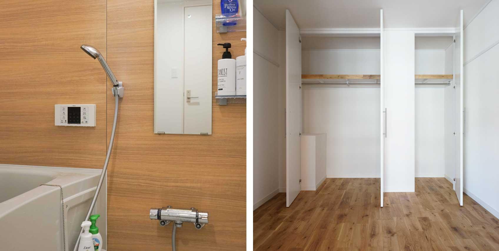 左:新しくなったバスルーム。古い建物でも水回りがリフレッシュされているものはお得/寝室のクローゼットはふたり分の荷物に十分な量があり、喧嘩になることもありません。
