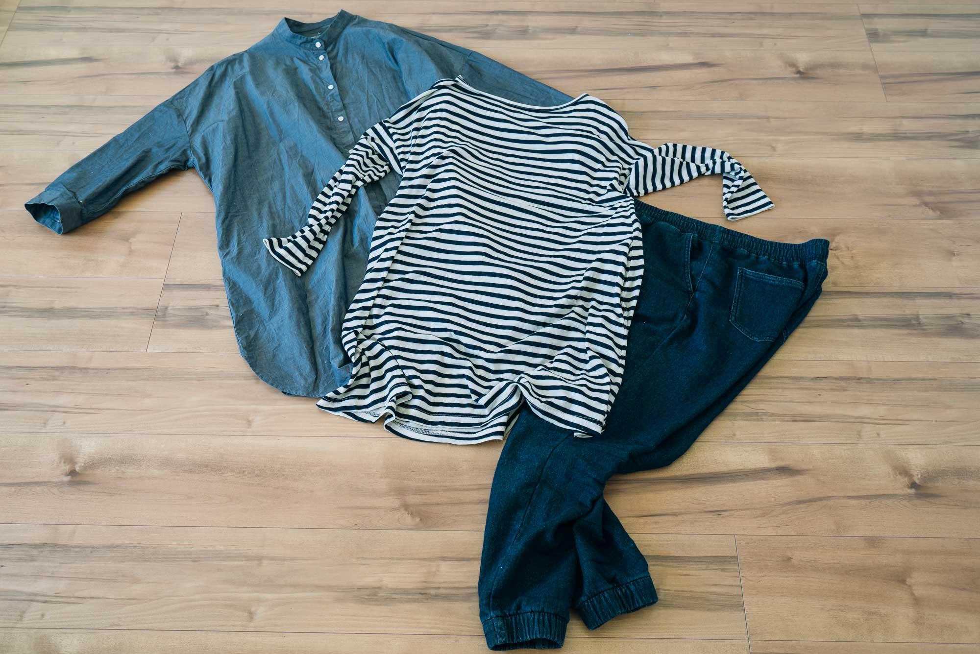本多さんのお気に入りの服たち。どんな組み合わせでも似合うから、服選びにも時間がとられない。