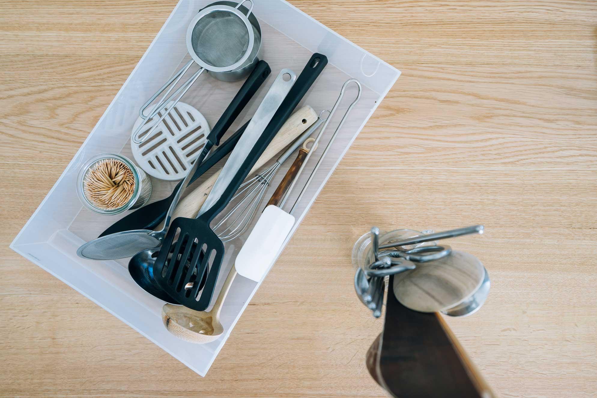 いま使っているキッチンツールはこれだけ。使用頻度の低いものは手放した。