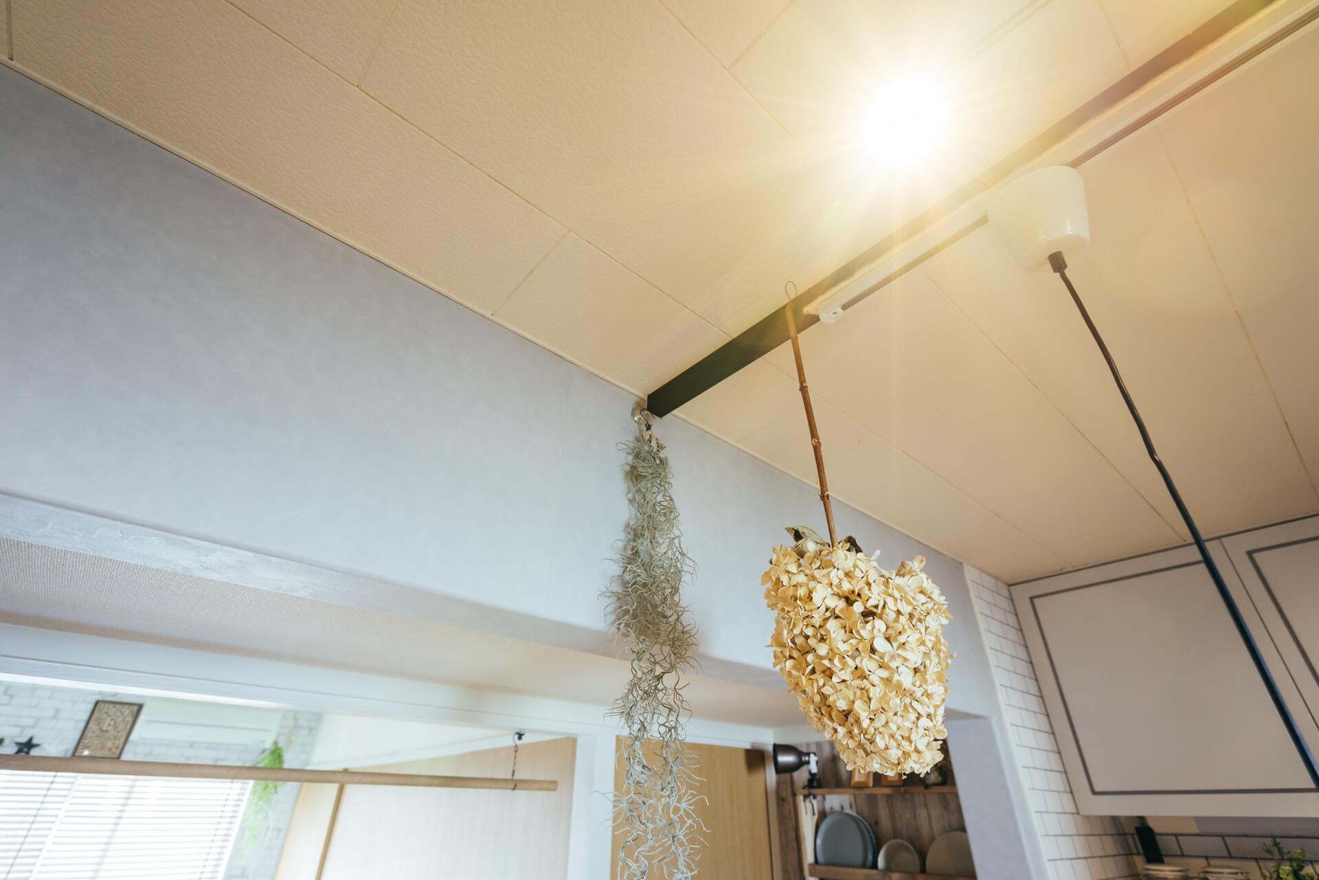 アジャスター金具を使って横向きに取り付けた角材には、ホームセンターで購入したダクトレールをとりつけて、ライティングレールにしています。