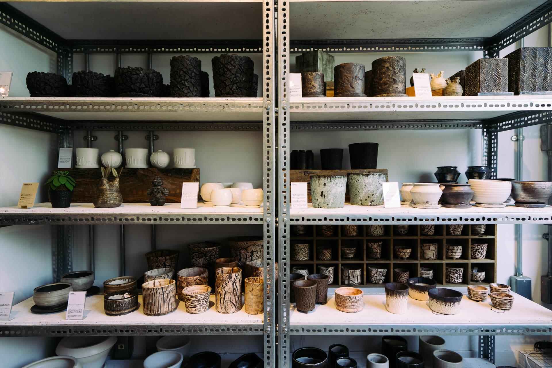 まるでお皿やお椀のコレクションのような、たくさんの個性的な植木鉢。