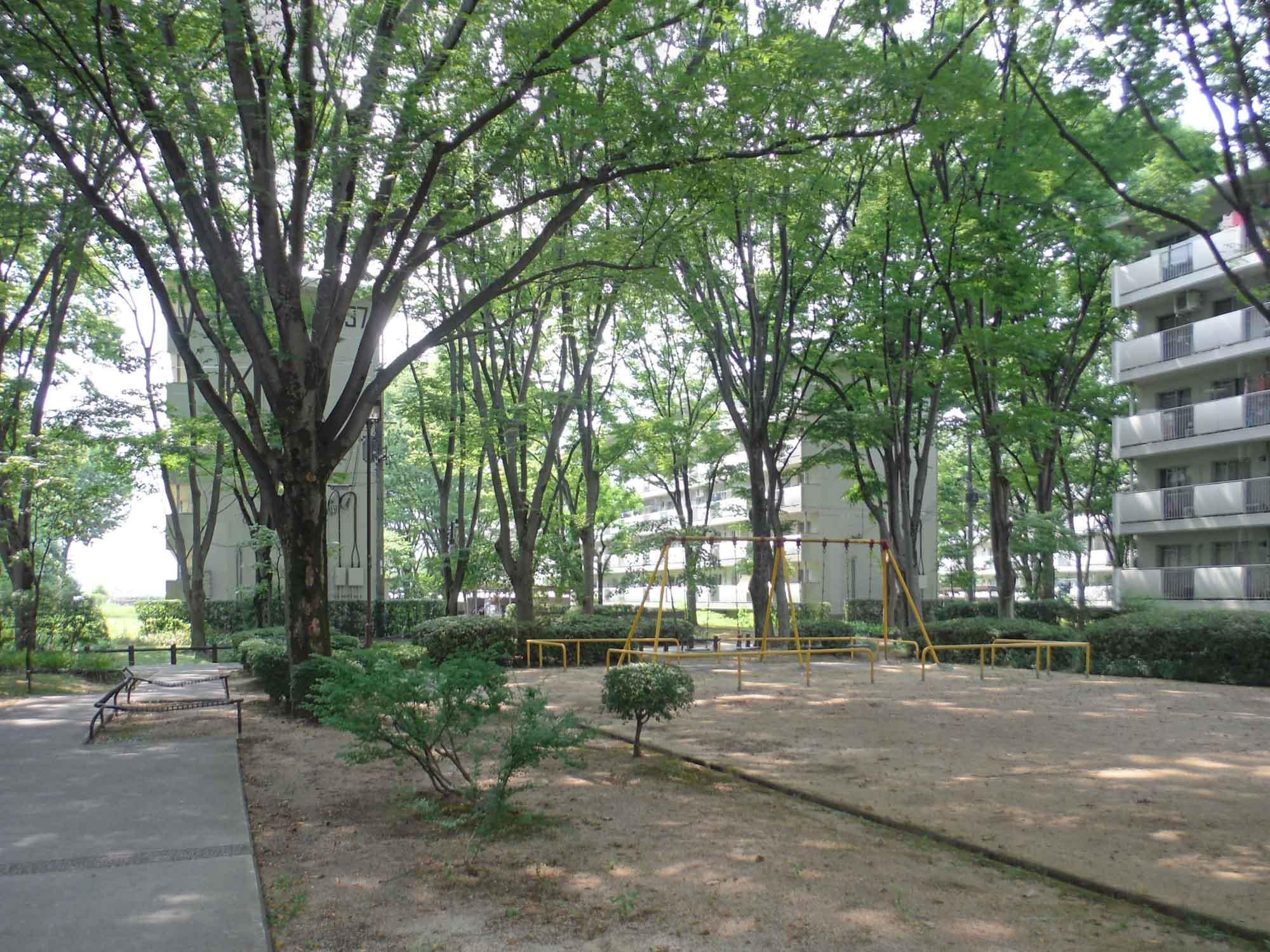 桃山南団地の公園。樹々が団地より高くなるほど育っている。