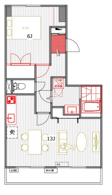 こちらのお部屋は、玄関から入って左右に寝室とリビング分かれる間取り。