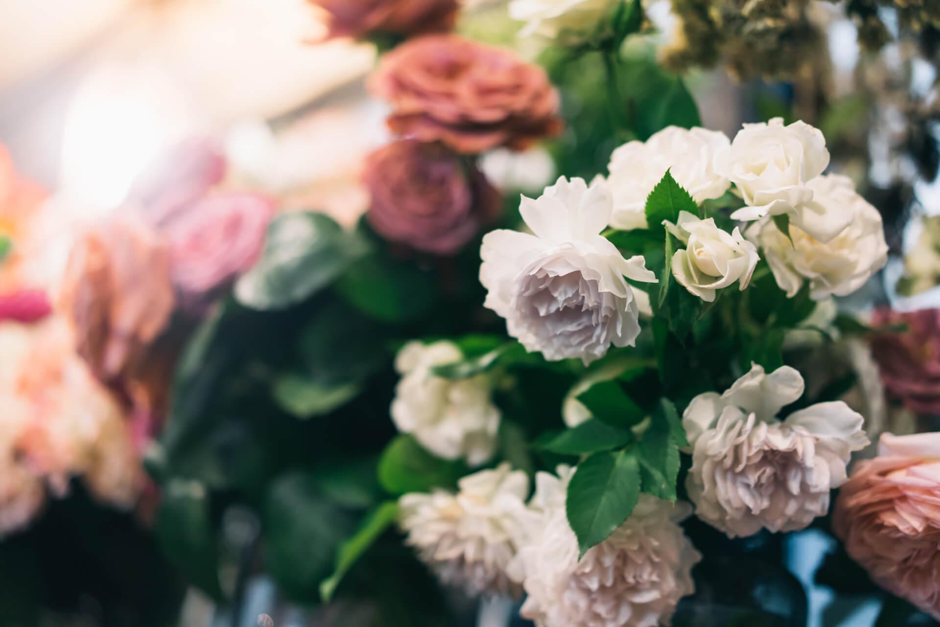 こちらのバラは、ガブリエルという種類。蕾から咲き誇るに連れて少しずつ変化する、とても繊細な紫色が美しい。