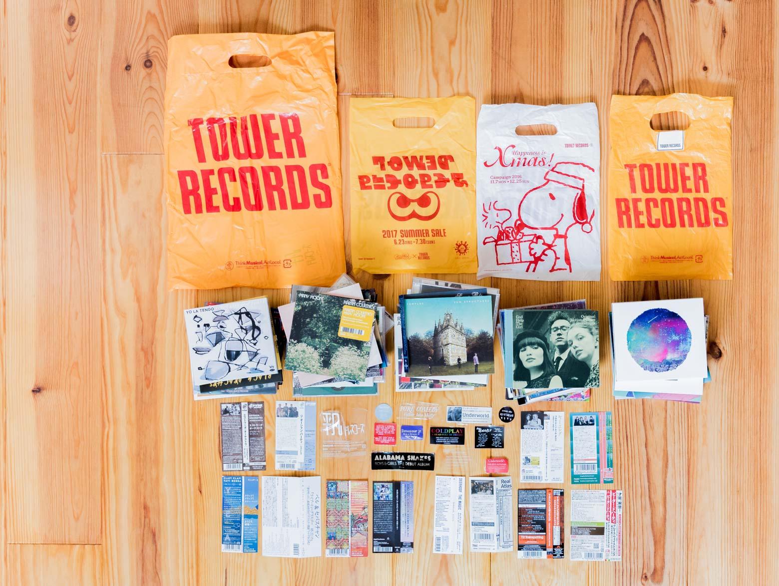 CDだけじゃなく、オビ、さらに包装に貼られているシールと、これらを購入したタワーレコードの袋までとってある!