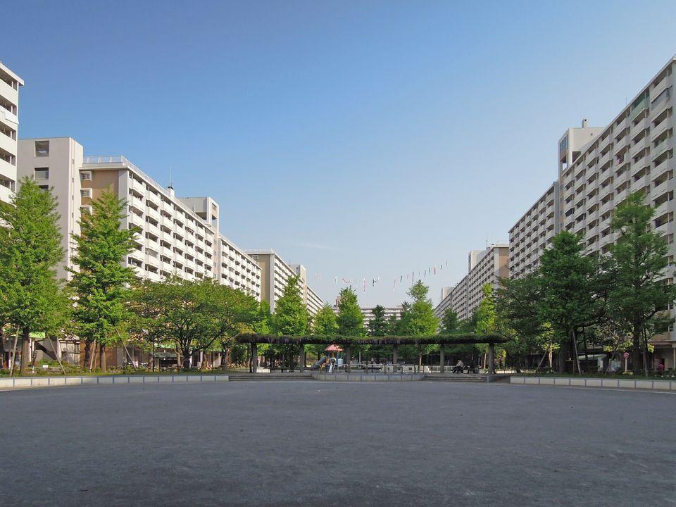 大島六丁目団地:広い棟間に森のような公園が設けられている