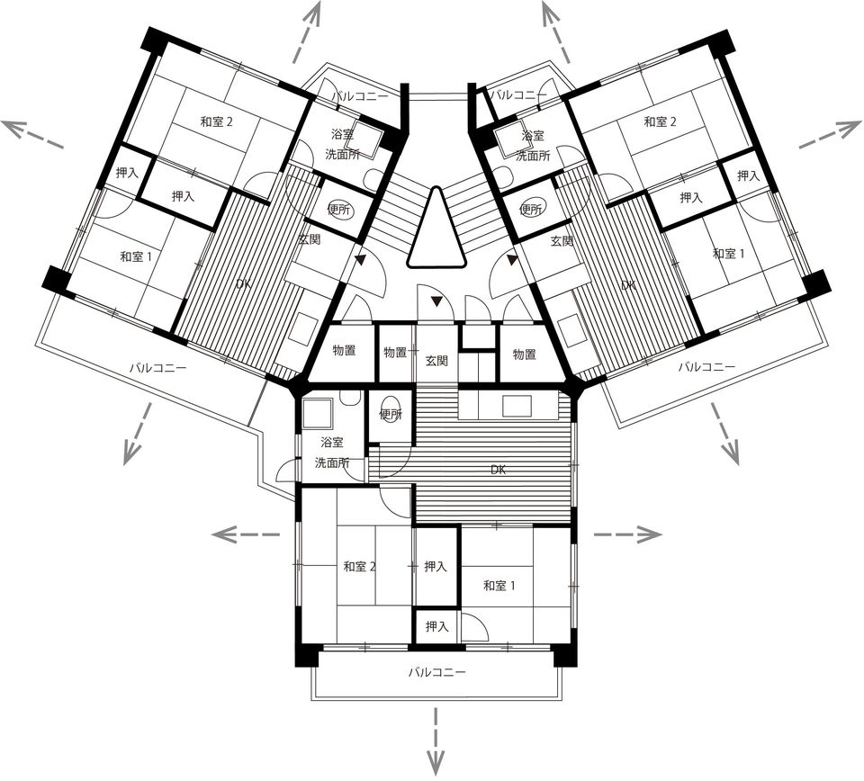 スターハウスの間取り。各戸3方向に窓が採れる。