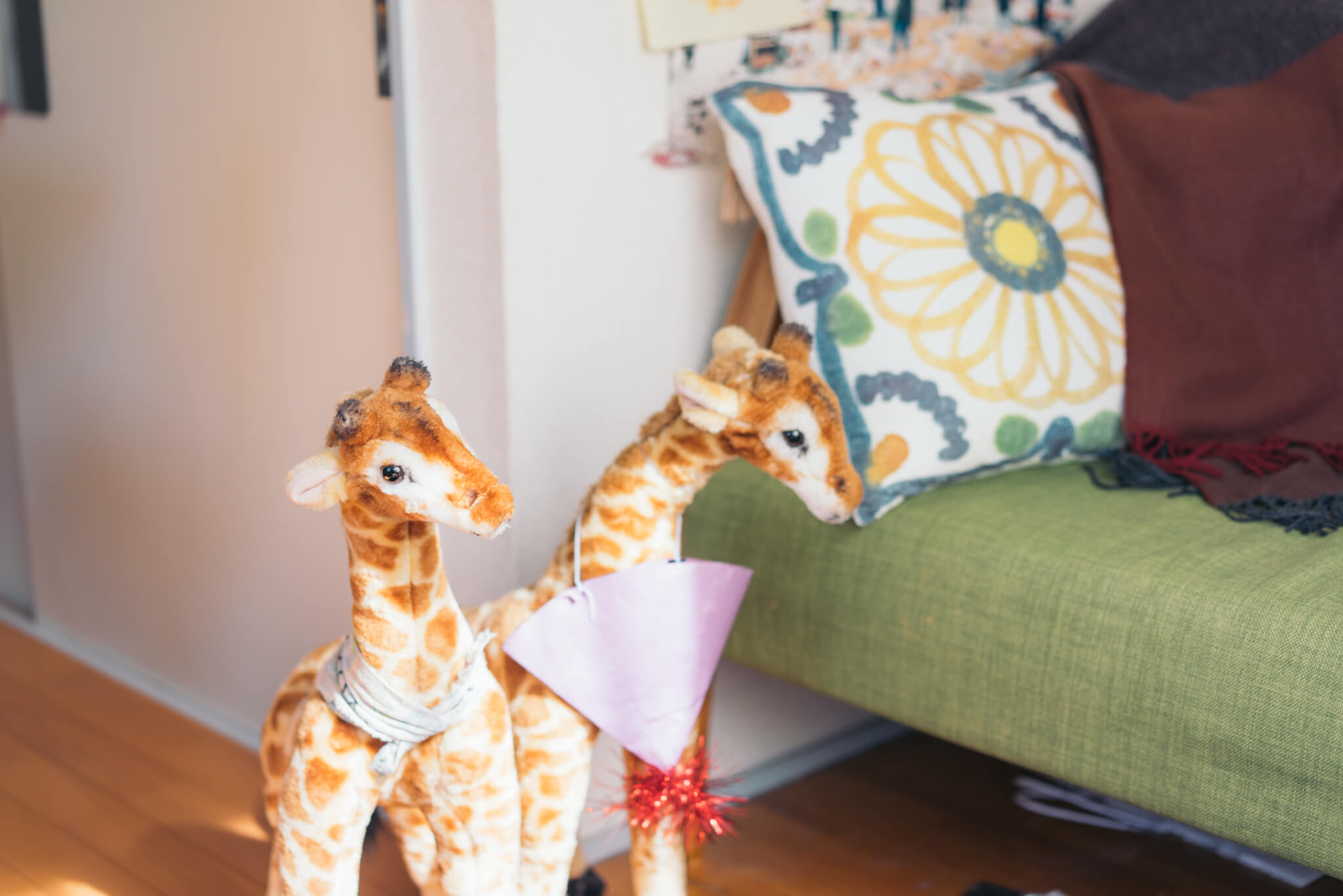 キリンが大好きなぷじさわさん。誕生日にもらった2匹のキリンが部屋のアイドル。