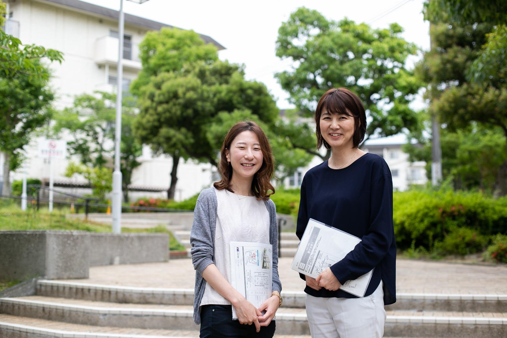 ご案内いただいたのは、UR都市機構の杉田恵子さん(写真右)と松尾知佳さん(写真左)
