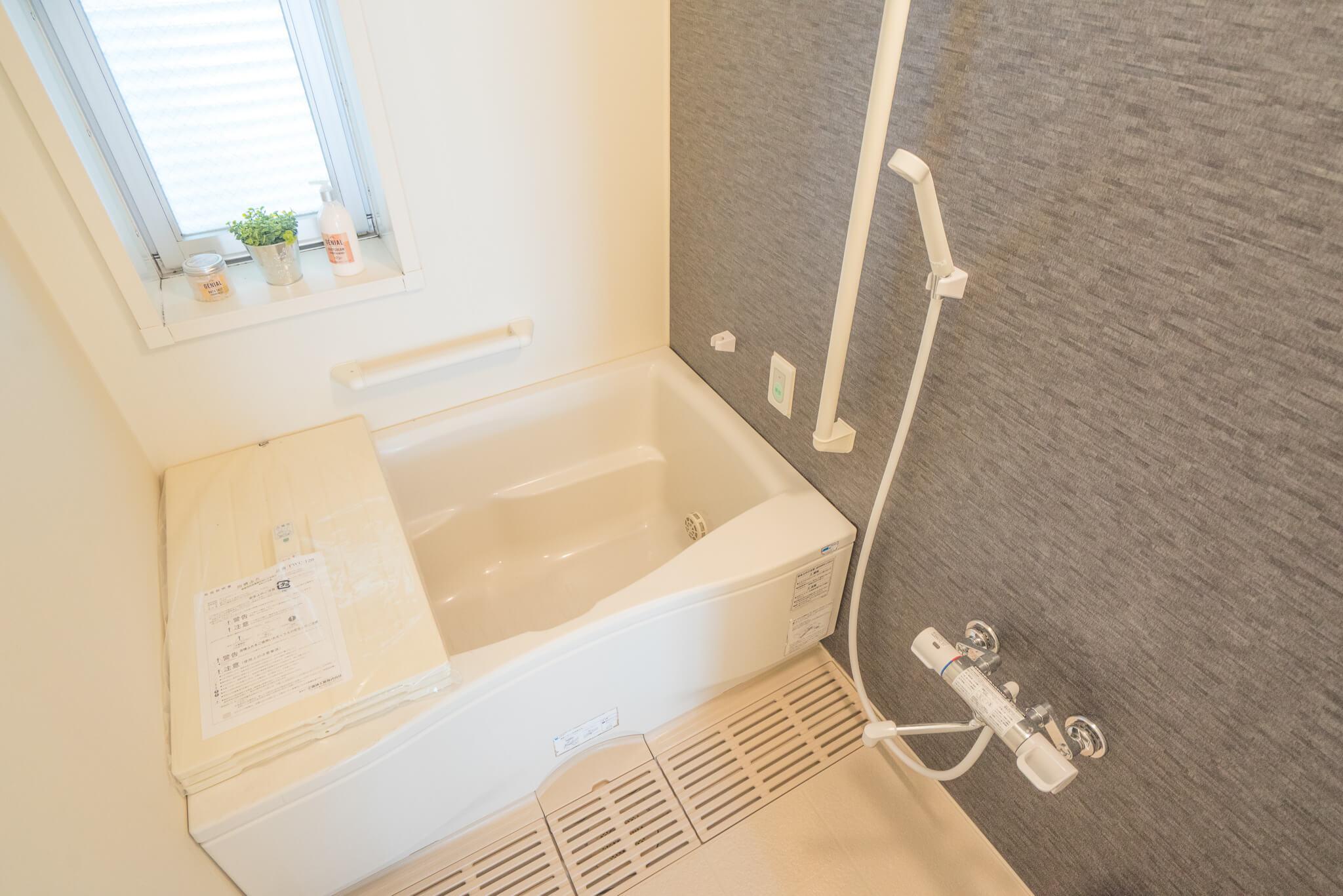 お風呂場も、デザインが良くて嬉しい。これは、ゆっくり疲れが癒せそうです。