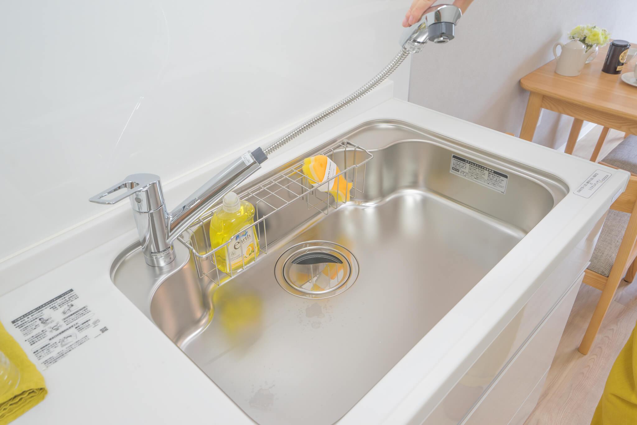 シャワーノズル付きの水栓に興奮しているところ。賃貸でここまでのグレードのキッチンって、なかなか見ないですね。