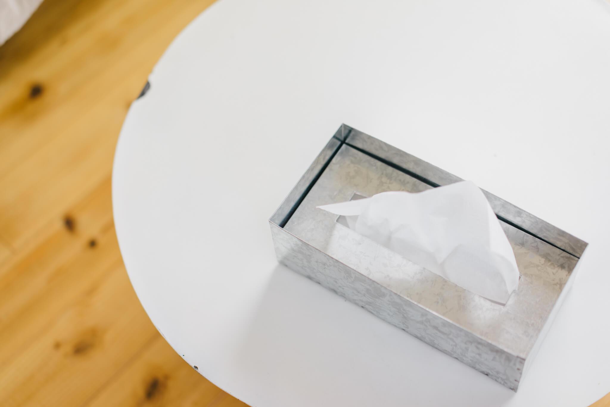 風合いが豊かな fog linen work ブリキのティッシュボックス
