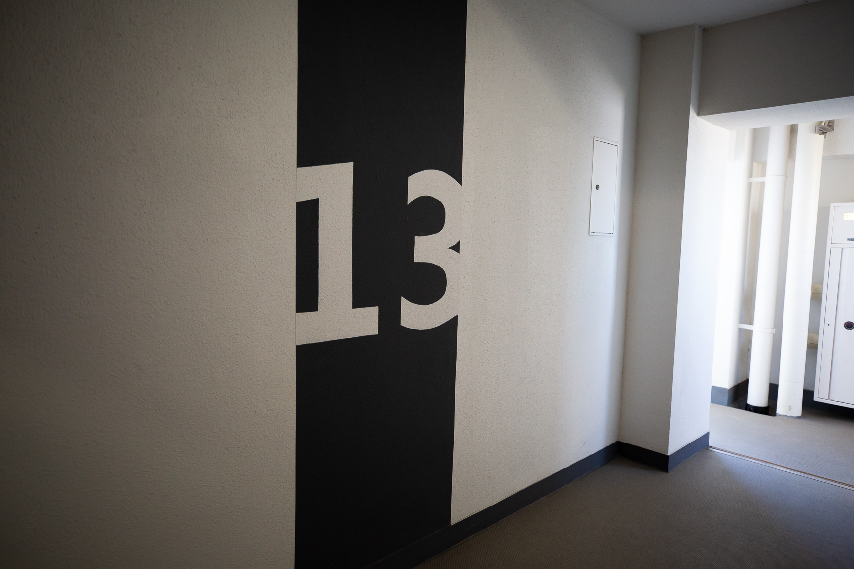 各棟の階数表示。デザイン性が高いです