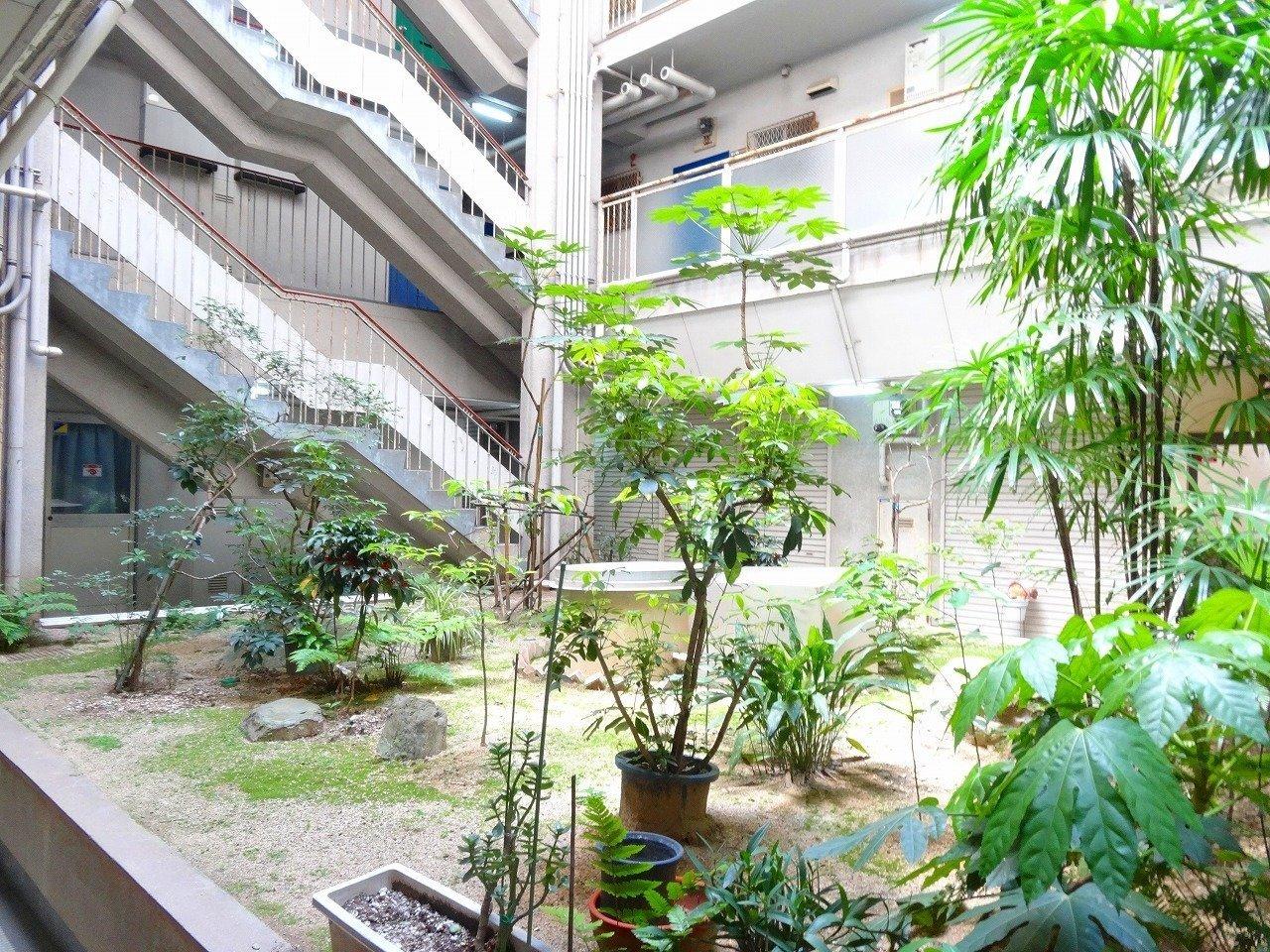 アクセスのよい、便利な中津駅から徒歩5分のこちらの物件は、築40年以上のレトロなたたずまい。開放感のある中庭が印象的です。
