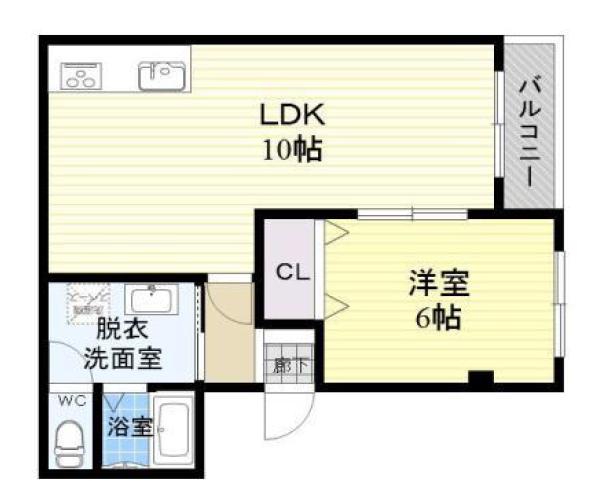 6畳の洋室部分にはしっかり収納スペースがあるため、荷物が多い二人でも大丈夫。