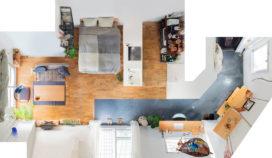 広い土間に大きな対面キッチン。大胆間取りのリノベルームで仲良く暮らすふたりの部屋