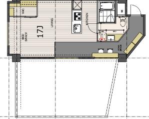 間取り図を見ると、こう。冒頭の平面図写真で空白になっている、キッチンと玄関の間はバス・トイレと脱衣所になっています。