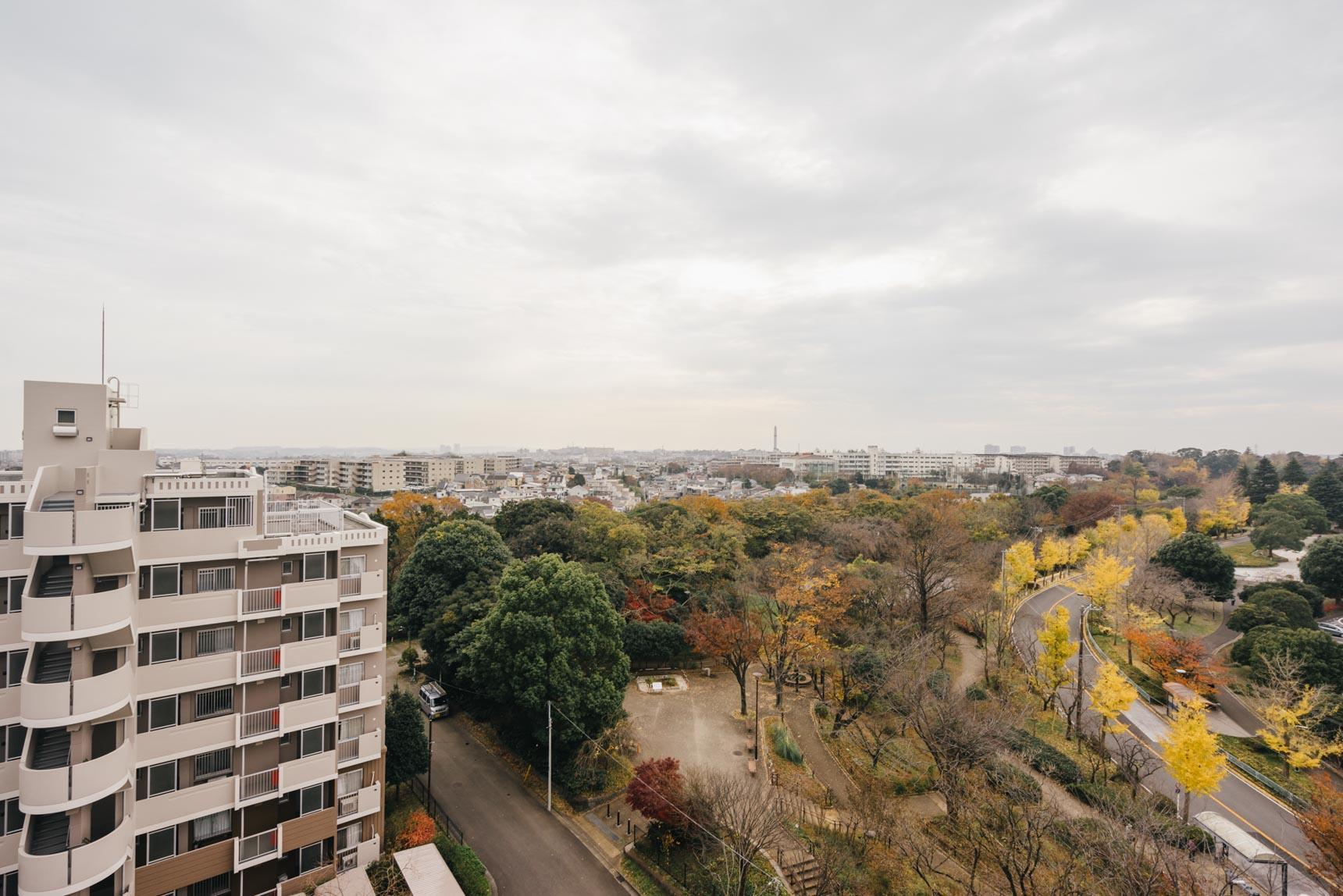 高台の上にあることから、眺望も最高なんです(写真は建物9階からの眺め)