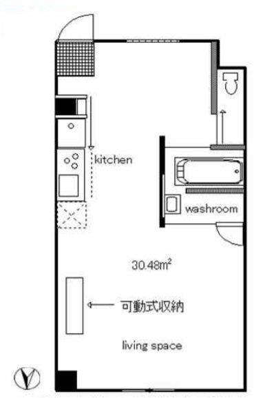 水回りは西洋アパートメント風で、バスタブと洗面が1つの空間にあります。スケルトンが気になる方は、カーテンレールがあるので、そちらを活用してくださいね。
