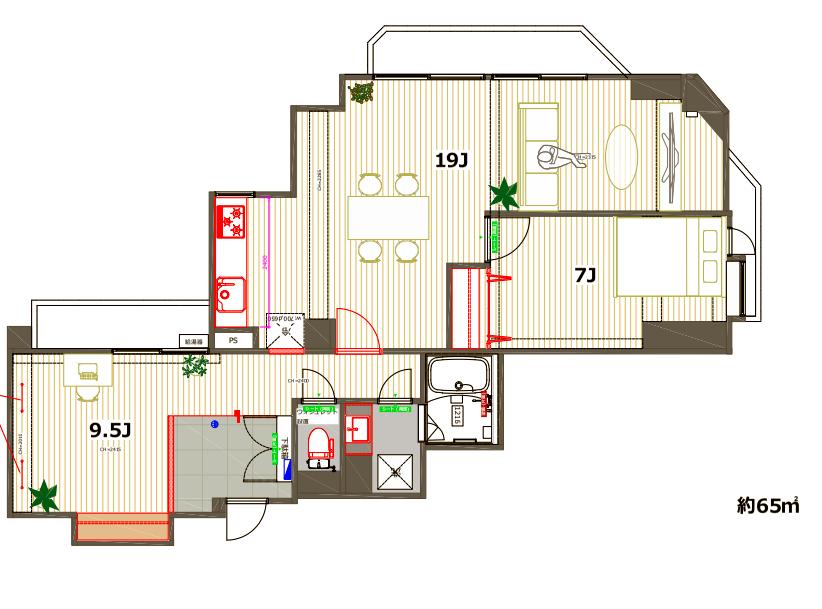 19畳の広々リビングと、寝室、そしてサービスルーム。カップルからファミリーまでお勧めしたい一部屋です。