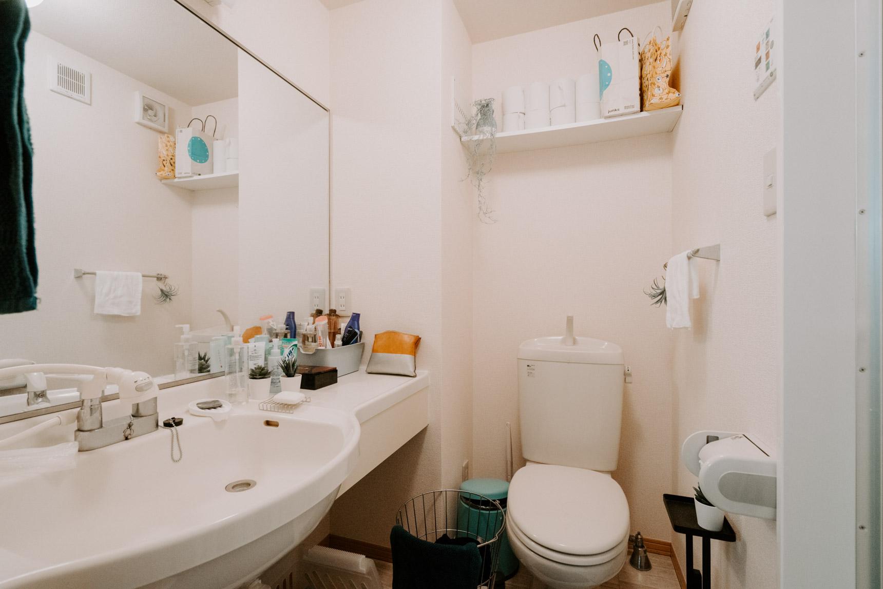 バストイレはセパレートで、洗面台の鏡がとても大きくてまるでホテルのよう!一見、普通に見えるけど、とても暮らしやすそうな間取りのお部屋でした。上手にお部屋探しされていますね。