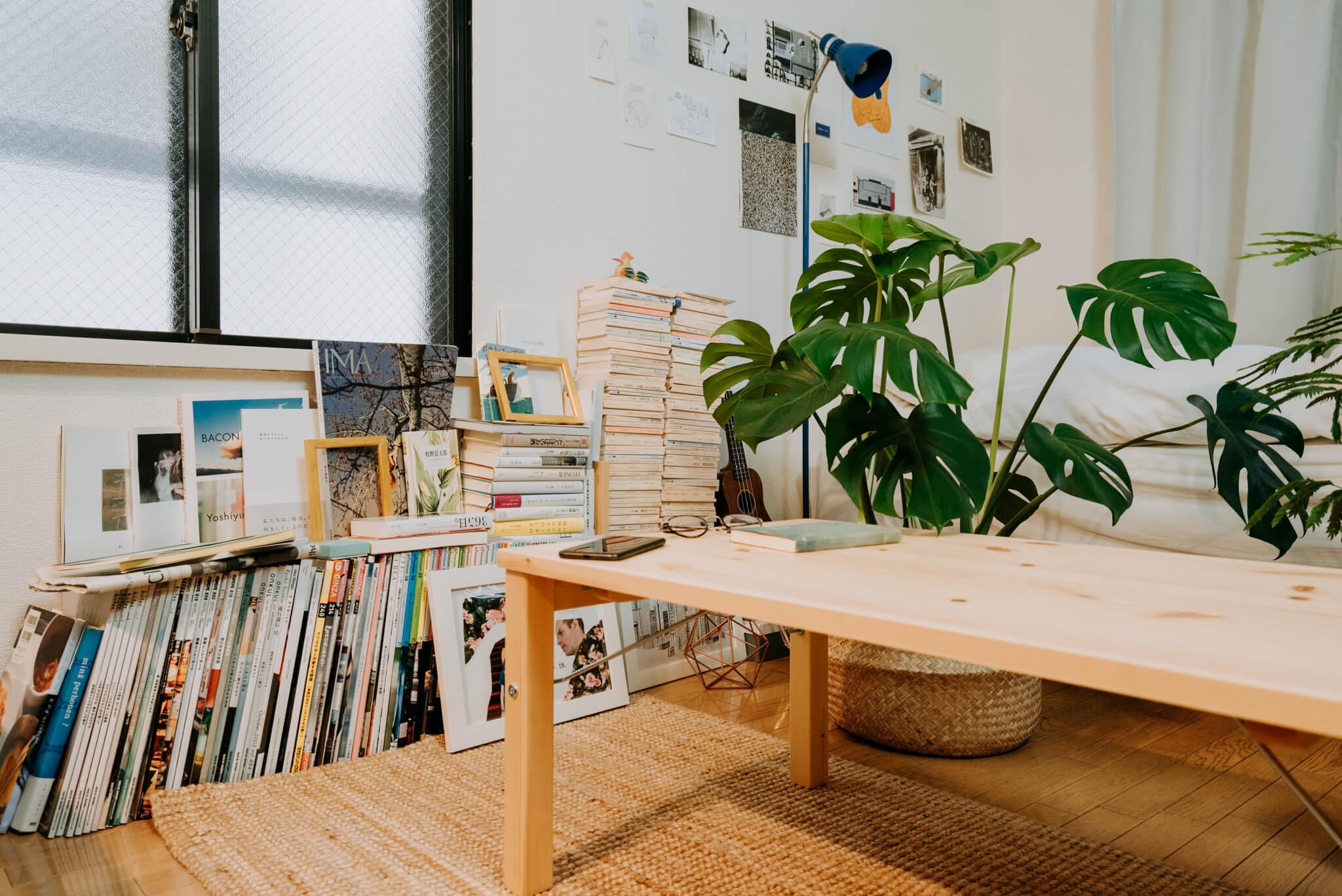 長く使える折りたたみテーブル。無印良品「パイン材ローテーブル」
