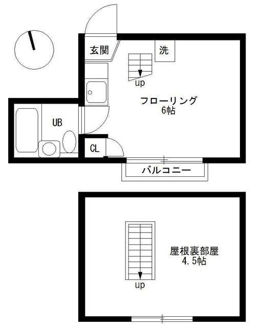 (高円寺/13㎡/6.5万円※平米数に屋根裏は含まれません)