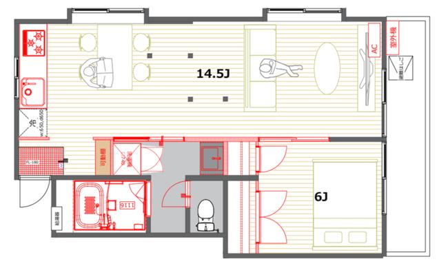 6畳の寝室にダブルベッドを置いたレイアウト例。