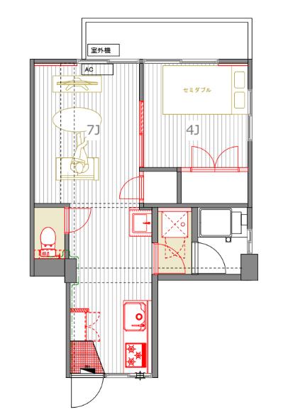 4畳の寝室に、セミダブルを置くとこのぐらい