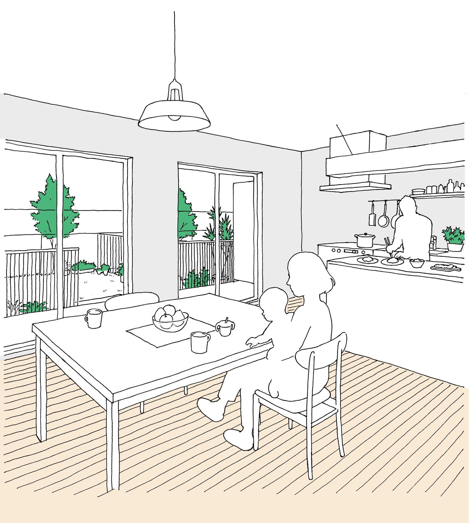 専用庭のあるファミリー向け住宅のイメージ図