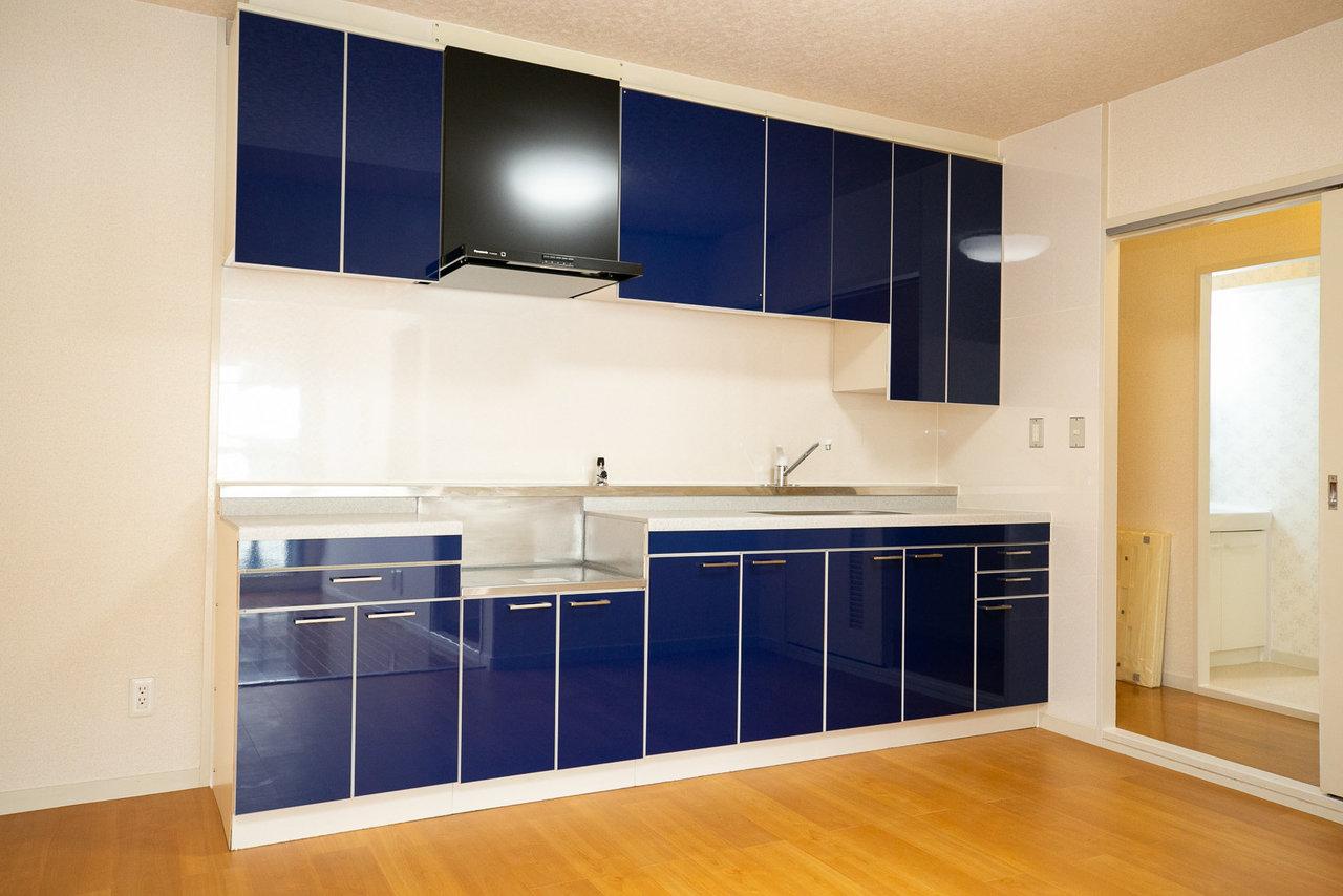 キッチンもこの通り、ビッグサイズ! 家族みんなで横並びで料理もできそうです。ガスコンロがついていないので、お好きなデザインのものを持ち込んでくださいね。