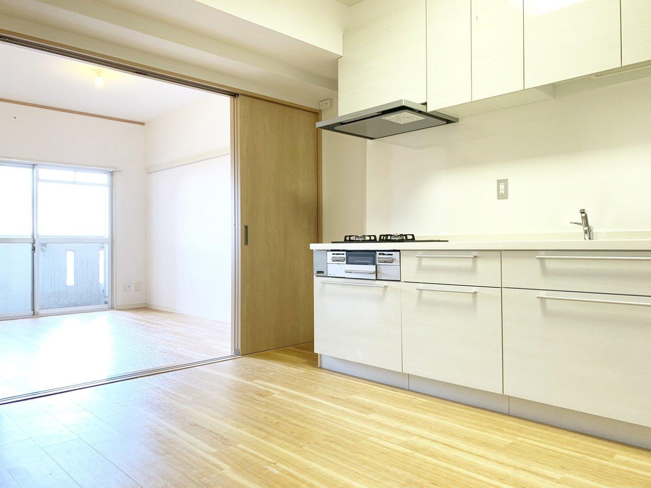 今年リノベーション工事が完了したばかりの1DKのお部屋です。和室が洋室に替えられ、キッチンやバスルーム、洗面台が新品になっています。