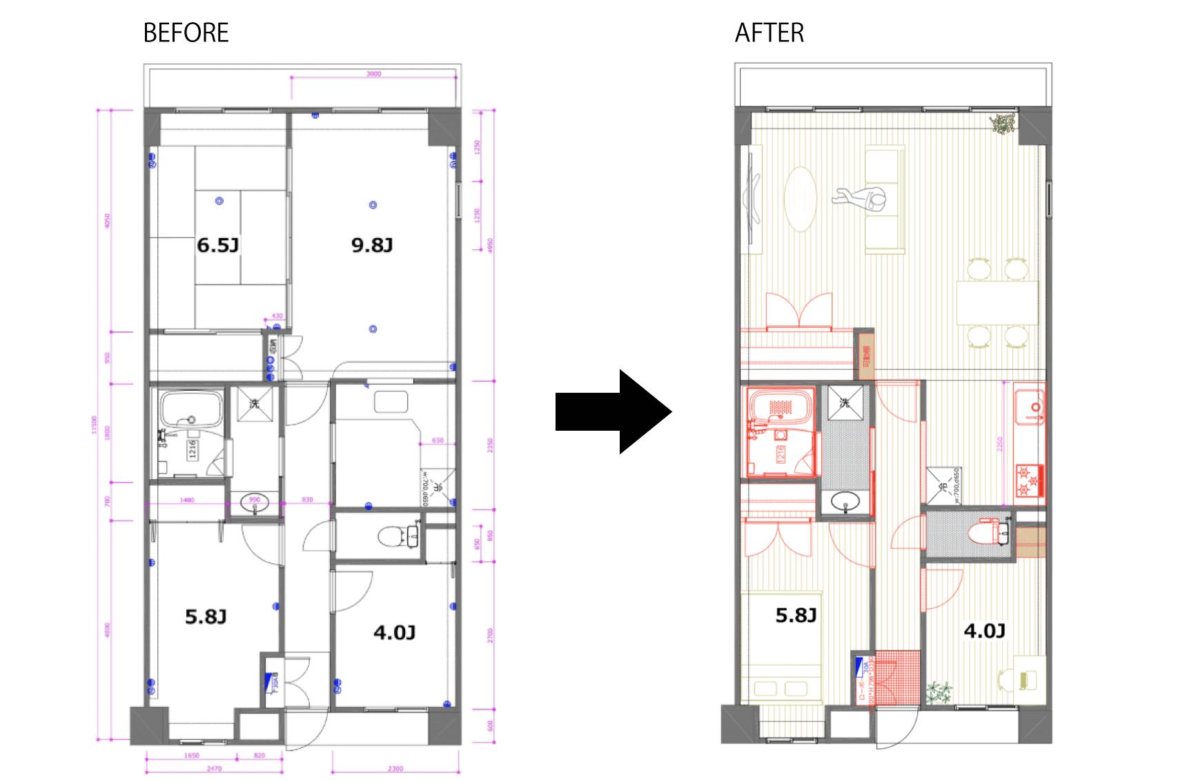 もともと、3LDKだった60㎡超のお部屋。ベランダ側の2部屋をつなげ、さらにキッチンとの間の仕切りを取ることで、かなり開放的なLDKが誕生しました。