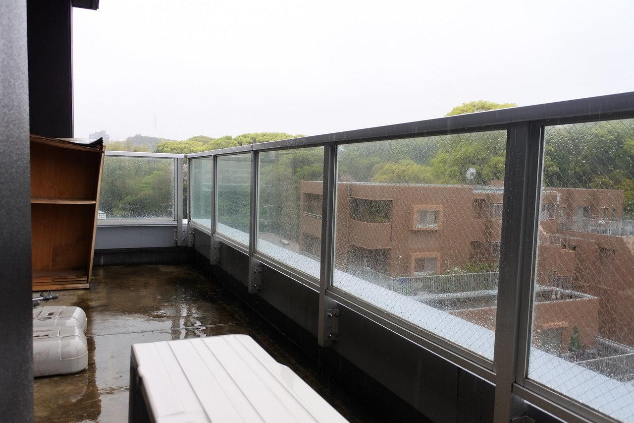 LDK、洋室、両方バルコニーに面している間取りもいい。バルコニーの外にはもさもさの緑が広がっています。