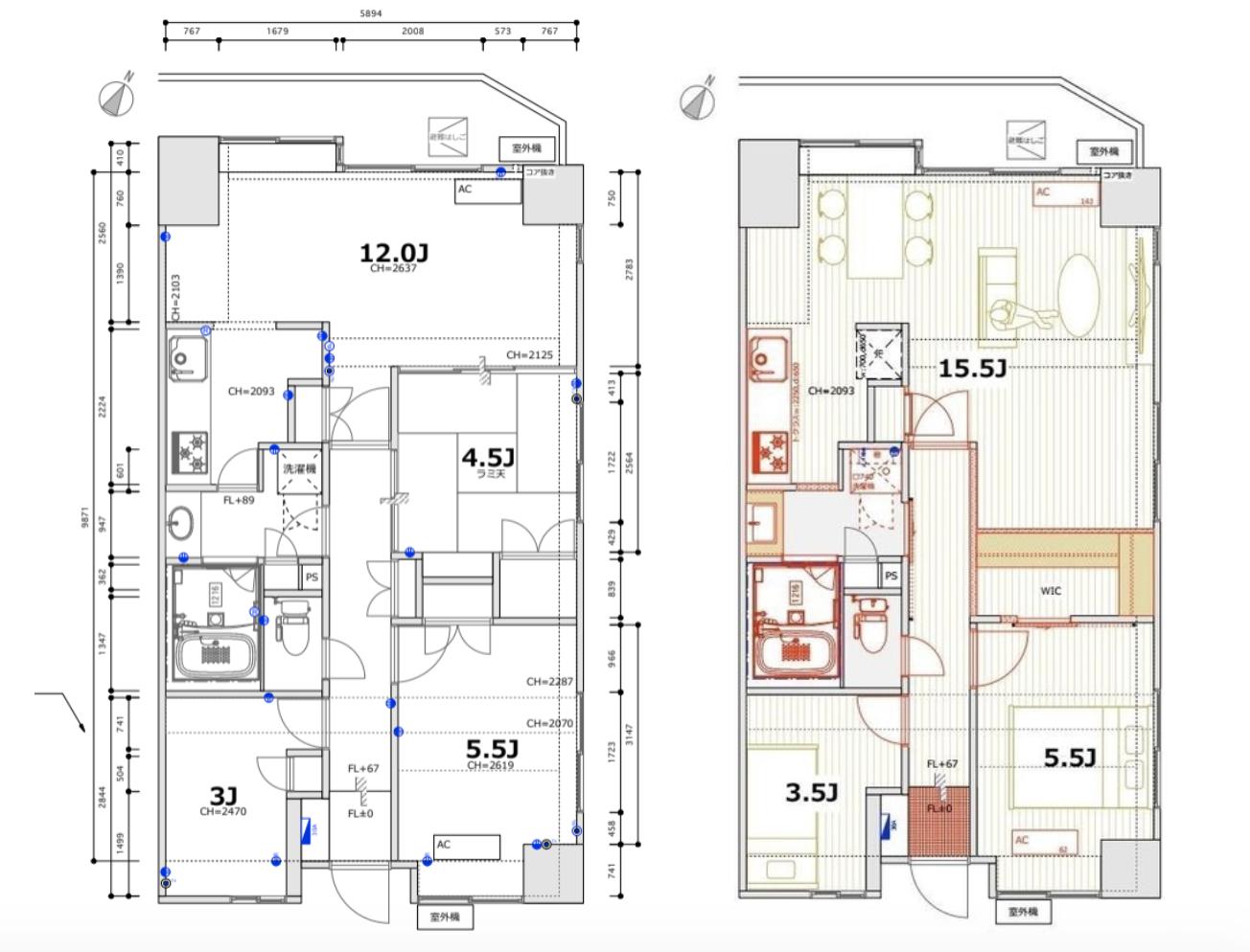 左がリノベ前、右がリノベ後の間取り(家具の位置は想定のもので実際とは違います)。