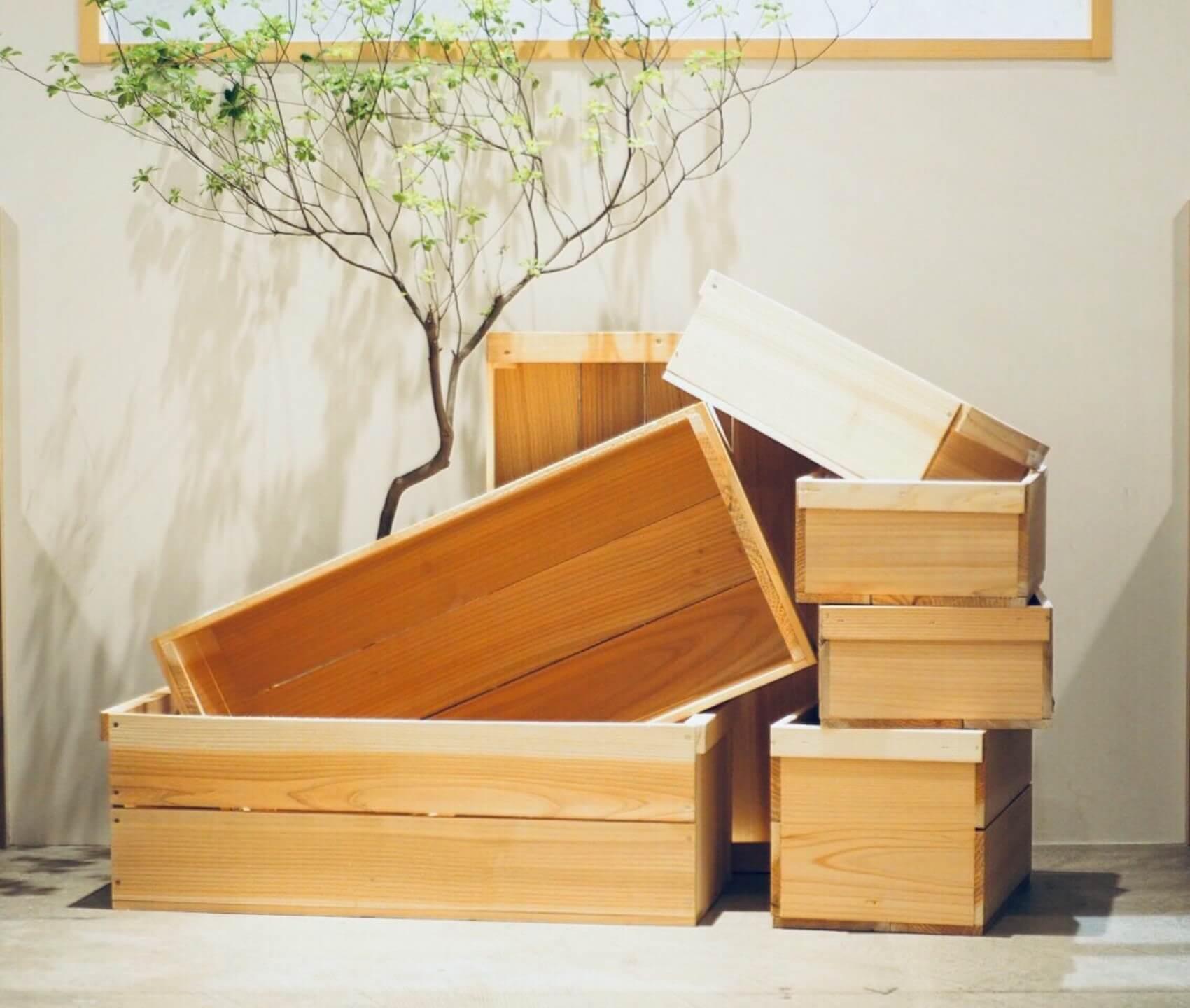 暮らしが変わっても、長く使える。『畠山商店』の杉材の木箱
