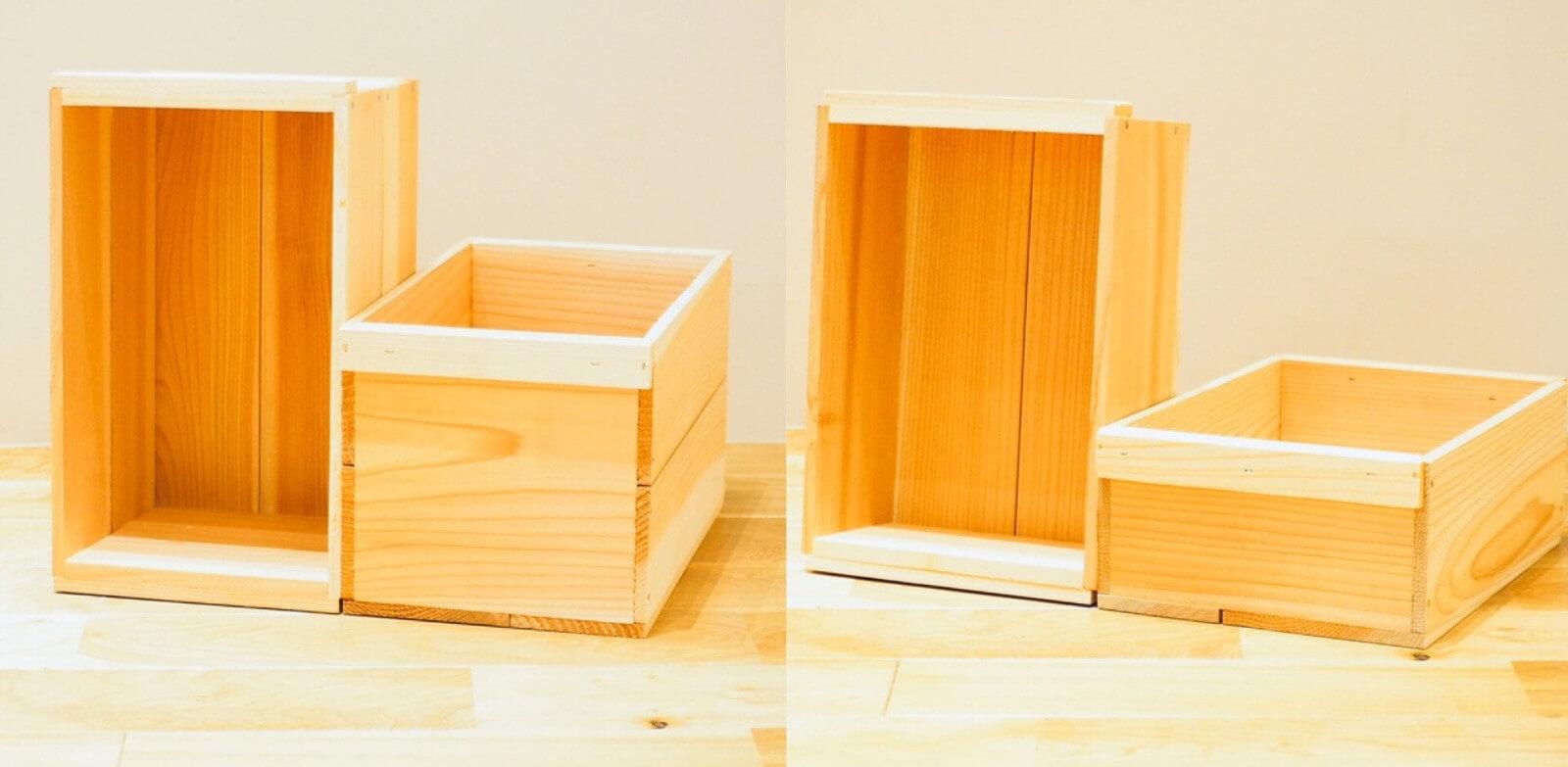やさい箱(写真左) : 380×220×210 / 330×200×200 オリジナル木箱 (写真右): 340×230×120 / 290×210×110 ※外寸(横×奥行き×高さ) / 内寸(横×奥行き×高さ)