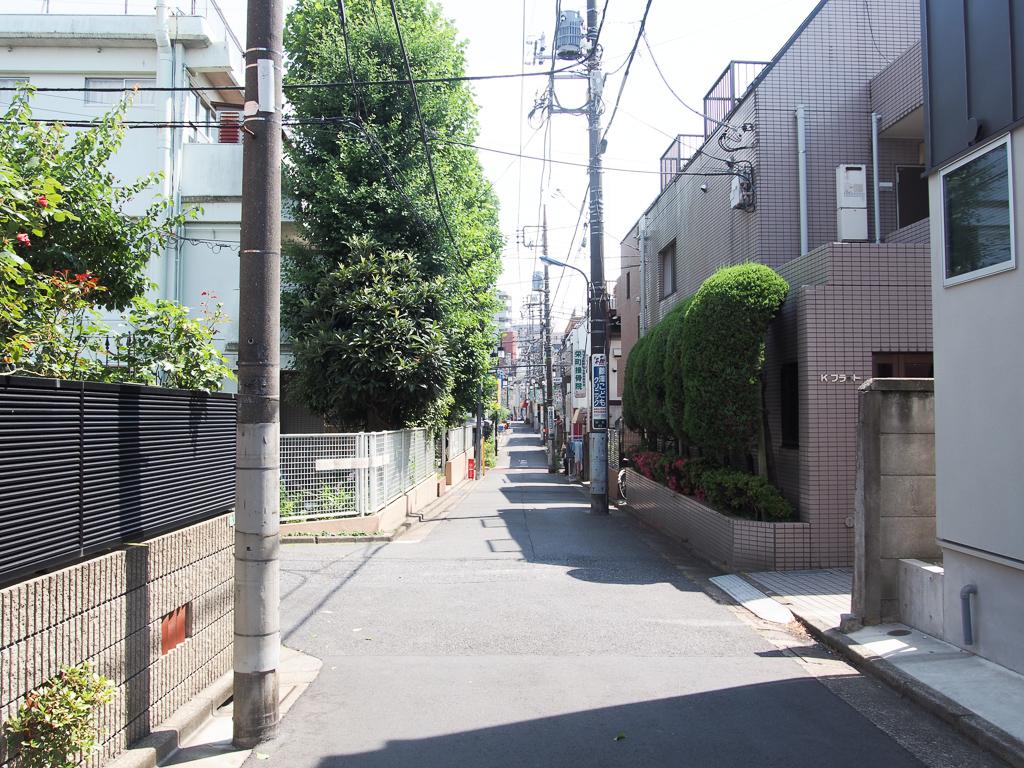 北口を少し歩いたところの路地裏。閑静な住宅街、といった印象です。