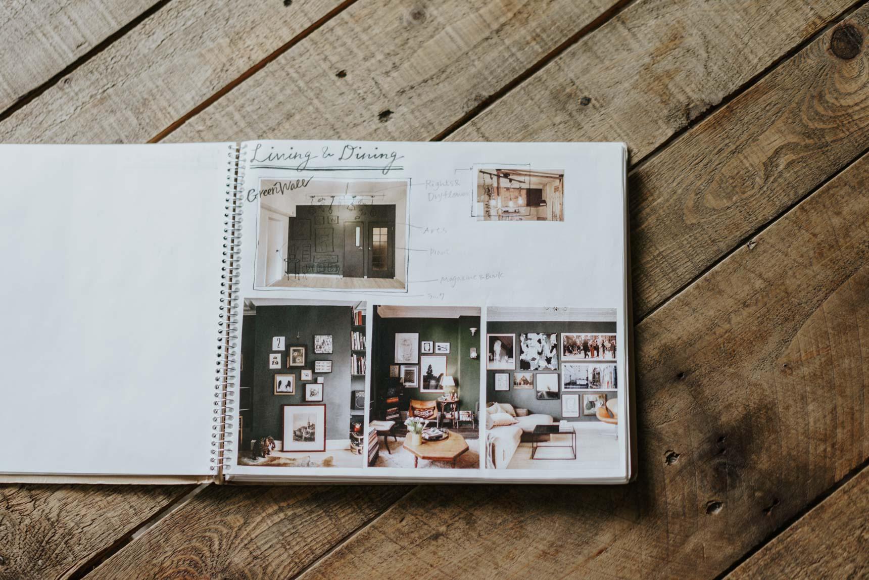 「緑の壁」に合うインテリアの参考イメージなど、たくさんのアイディアが詰まったノートになっていました。