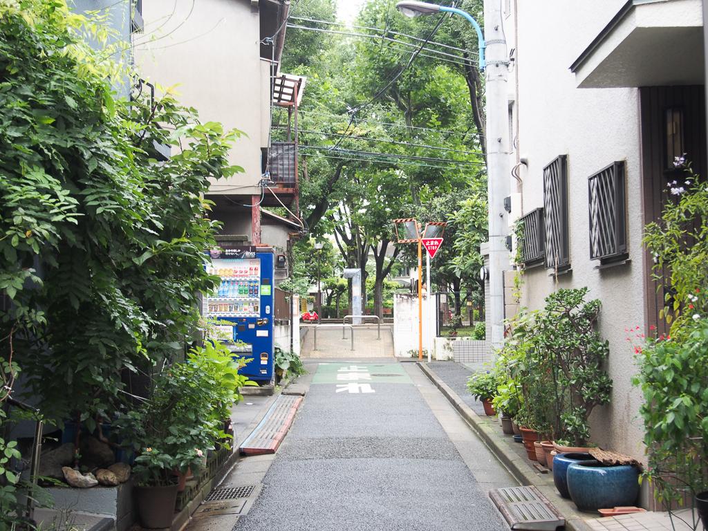 神楽坂のメインストリートから1本入ったところ。緑が多く、静かです。
