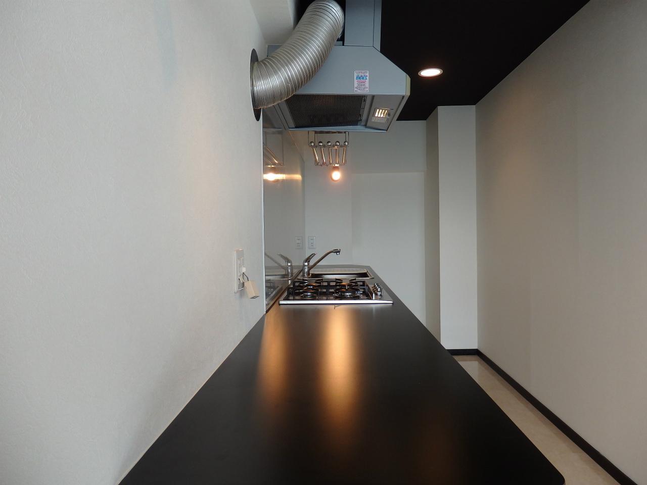 ポイントはこのステンレスのキッチン。幅広でながーい、このカウンターをどう使いましょう?食事をするのもいいけれど、パソコンなどの作業をするスペースにしてしまってもいいかもしれません。