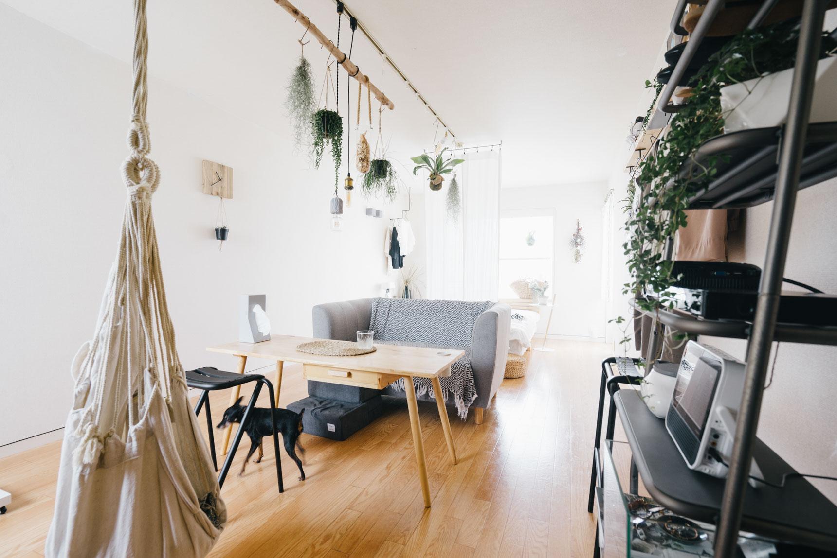 ベッド側と空間を区切るために、ベッドに対して背を向けてソファを配置。さらに天井からカーテンを吊り下げて、プライベート空間と仕切ります。