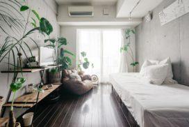 クールなコンクリートとグリーンのグッドバランス。お手本にしたいシンプルな一人暮らしのボタニカルインテリア