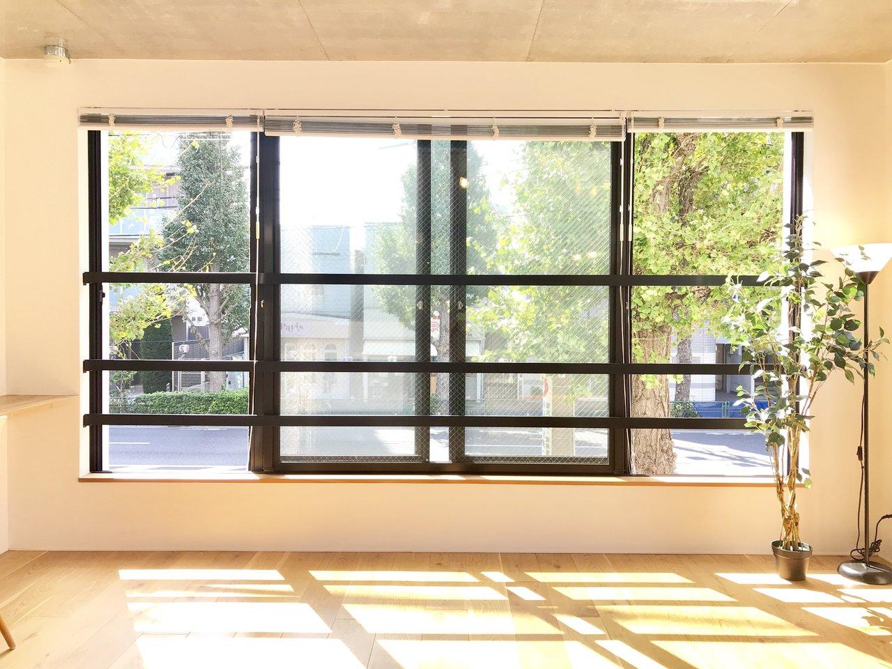 ぬくもりのある、肌ざわりの無垢床と、大きな2面採光の窓が特徴的な気持ちのいいお部屋。壁や床に映る木漏れ日がお部屋を幻想的な空間にしてくれます。